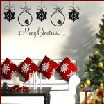 Merry Christmas & 5 Baubles  ~ Wall sticker / decals